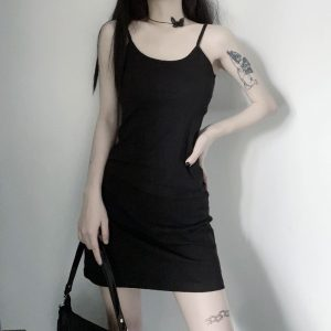 Plain Goth Aesthetic Straps Dress - My Sweet Outfit - EGirl Outfits - Soft Girl Clothes Aesthetic - Grunge Korean Fashion Tumblr Hip Emo Rap (3)