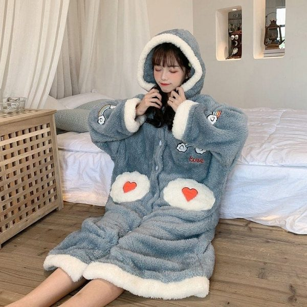 Plush Rainbow Embroidered Pajamas 1 - My Sweet Outfit - EGirl Outfits - Soft Girl Clothes Aesthetic - Grunge Korean Fashion Tumblr Hip Emo Rap
