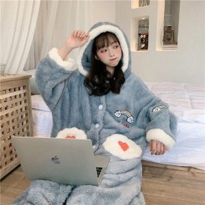 Plush Rainbow Embroidered Pajamas (3) - My Sweet Outfit - EGirl Outfits - Soft Girl Clothes Aesthetic - Grunge Korean Fashion Tumblr Hip Emo Rap