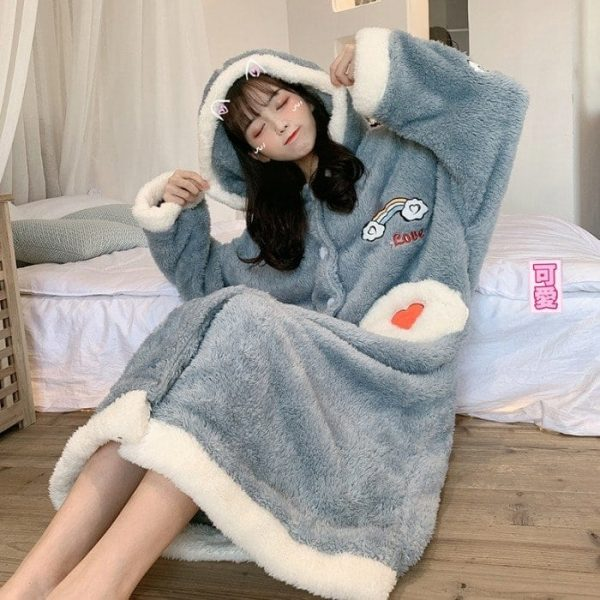Plush Rainbow Embroidered Pajamas 4 - My Sweet Outfit - EGirl Outfits - Soft Girl Clothes Aesthetic - Grunge Korean Fashion Tumblr Hip Emo Rap