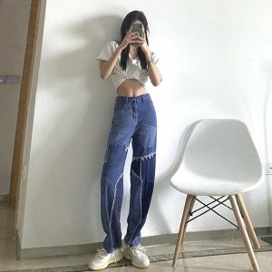 Retro Edging Contrast Color Straight Jeans 1 - My Sweet Outfit - EGirl Outfits - Soft Girl Clothes Aesthetic - Grunge Korean Fashion Tumblr Hip Emo Rap