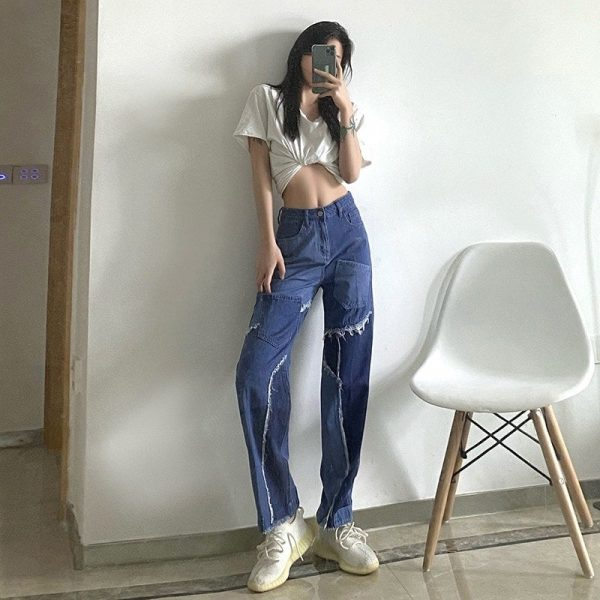 Retro Edging Contrast Color Straight Jeans 3 - My Sweet Outfit - EGirl Outfits - Soft Girl Clothes Aesthetic - Grunge Korean Fashion Tumblr Hip Emo Rap