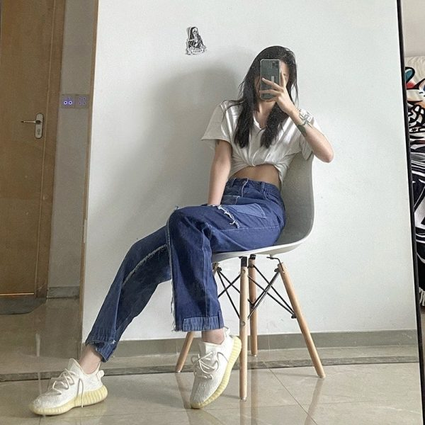 Retro Edging Contrast Color Straight Jeans 4 - My Sweet Outfit - EGirl Outfits - Soft Girl Clothes Aesthetic - Grunge Korean Fashion Tumblr Hip Emo Rap