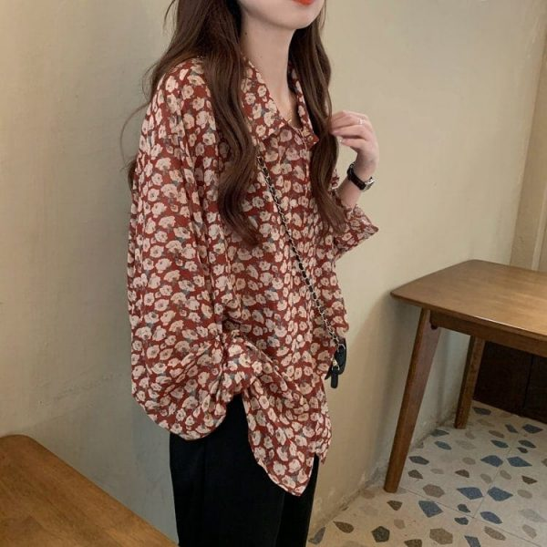 Retro Floral Print Wide Sleeves Shirt 2 - My Sweet Outfit - EGirl Outfits - Soft Girl Clothes Aesthetic - Grunge Korean Fashion Tumblr Hip Emo Rap