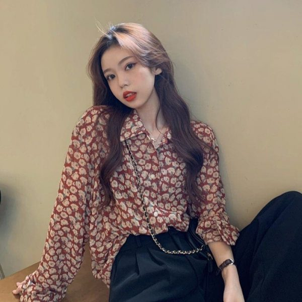 Retro Floral Print Wide Sleeves Shirt 3 - My Sweet Outfit - EGirl Outfits - Soft Girl Clothes Aesthetic - Grunge Korean Fashion Tumblr Hip Emo Rap