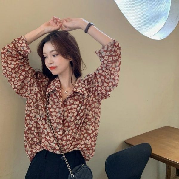 Retro Floral Print Wide Sleeves Shirt 4 - My Sweet Outfit - EGirl Outfits - Soft Girl Clothes Aesthetic - Grunge Korean Fashion Tumblr Hip Emo Rap