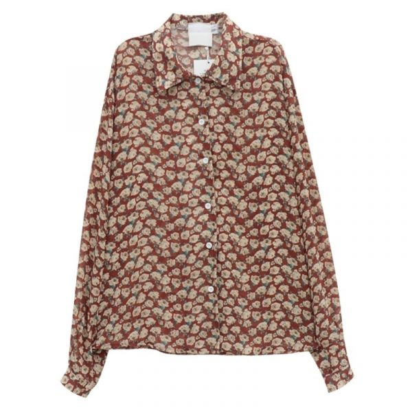 Retro Floral Print Wide Sleeves Shirt 5 - My Sweet Outfit - EGirl Outfits - Soft Girl Clothes Aesthetic - Grunge Korean Fashion Tumblr Hip Emo Rap