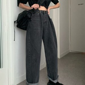 Retro Lazy BF Wide Jeans 1 - My Sweet Outfit - EGirl Outfits - Soft Girl Clothes Aesthetic - Grunge Korean Fashion Tumblr Hip Emo Rap