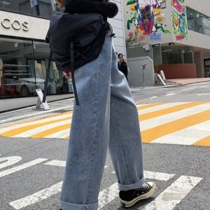 Retro Lazy BF Wide Jeans 4 - My Sweet Outfit - EGirl Outfits - Soft Girl Clothes Aesthetic - Grunge Korean Fashion Tumblr Hip Emo Rap