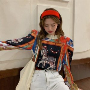 Retro Long Sleeve Horse Painting Blouse 1 - My Sweet Outfit - EGirl Outfits - Soft Girl Clothes Aesthetic - Grunge Korean Fashion Tumblr Hip Emo Rap