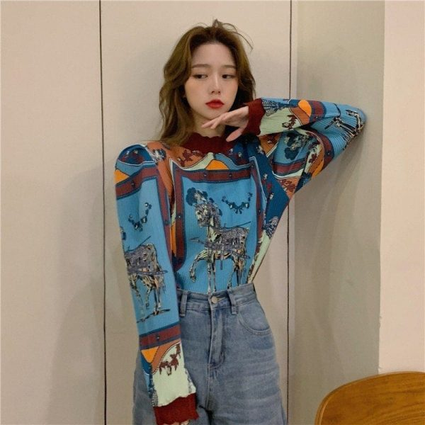 Retro Long Sleeve Horse Painting Blouse 2 - My Sweet Outfit - EGirl Outfits - Soft Girl Clothes Aesthetic - Grunge Korean Fashion Tumblr Hip Emo Rap