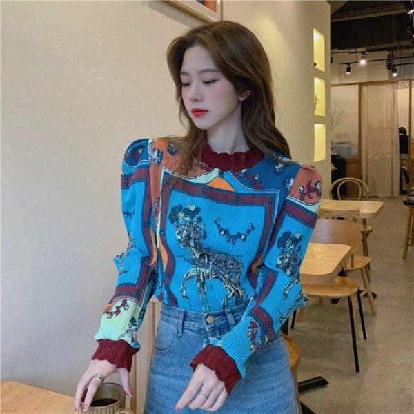 Retro Long Sleeve Horse Painting Blouse 3 - My Sweet Outfit - EGirl Outfits - Soft Girl Clothes Aesthetic - Grunge Korean Fashion Tumblr Hip Emo Rap