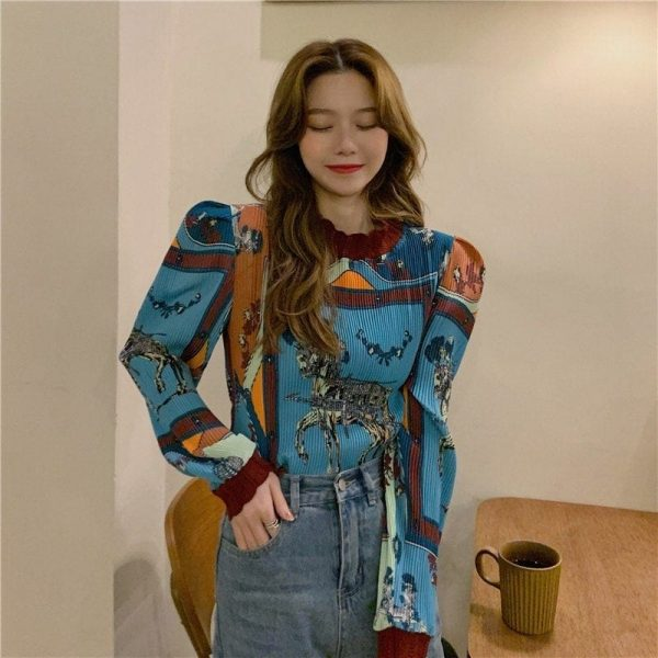 Retro Long Sleeve Horse Painting Blouse 4 - My Sweet Outfit - EGirl Outfits - Soft Girl Clothes Aesthetic - Grunge Korean Fashion Tumblr Hip Emo Rap