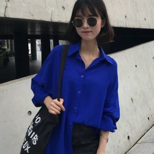 Retro Loose Chiffon Wine Red Shirt 1 - My Sweet Outfit - EGirl Outfits - Soft Girl Clothes Aesthetic - Grunge Korean Fashion Tumblr Hip Emo Rap