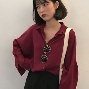 Retro Loose Chiffon Wine Red Shirt 4 - My Sweet Outfit - EGirl Outfits - Soft Girl Clothes Aesthetic - Grunge Korean Fashion Tumblr Hip Emo Rap