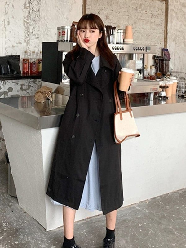 Retro Midi Double Breasted Coat 1 - My Sweet Outfit - EGirl Outfits - Soft Girl Clothes Aesthetic - Grunge Korean Fashion Tumblr Hip Emo Rap