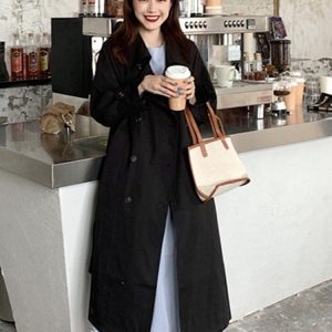 Retro Midi Double Breasted Coat (2) - My Sweet Outfit - EGirl Outfits - Soft Girl Clothes Aesthetic - Grunge Korean Fashion Tumblr Hip Emo Rap