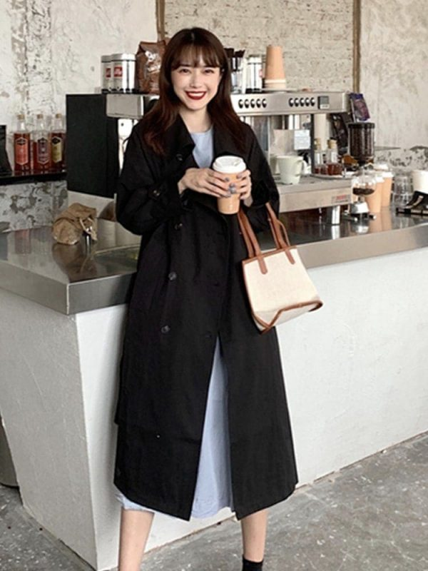 Retro Midi Double Breasted Coat 2 - My Sweet Outfit - EGirl Outfits - Soft Girl Clothes Aesthetic - Grunge Korean Fashion Tumblr Hip Emo Rap