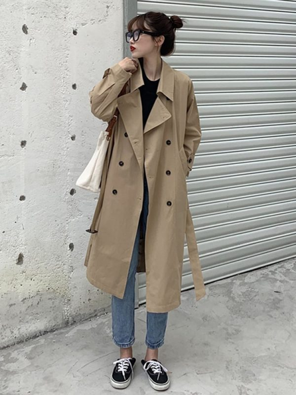Retro Midi Double Breasted Coat 3 - My Sweet Outfit - EGirl Outfits - Soft Girl Clothes Aesthetic - Grunge Korean Fashion Tumblr Hip Emo Rap