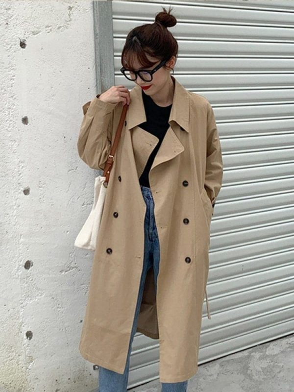 Retro Midi Double Breasted Coat 4 - My Sweet Outfit - EGirl Outfits - Soft Girl Clothes Aesthetic - Grunge Korean Fashion Tumblr Hip Emo Rap
