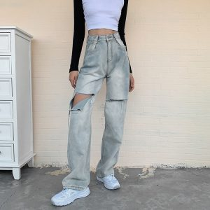 Retro Ripped Denim Wide Leg Jeans 4 - My Sweet Outfit - EGirl Outfits - Soft Girl Clothes Aesthetic - Grunge Korean Fashion Tumblr Hip Emo Rap Trap
