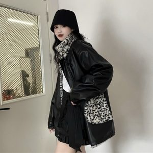 Reversible Plus Size Leopard PU Leather Jacket (3) - My Sweet Outfit - EGirl Outfits - Soft Girl Clothes Aesthetic - Grunge Korean Fashion Tumblr Hip Emo Rap