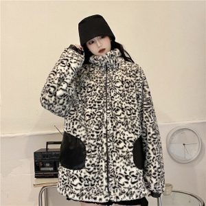 Reversible Plus Size Leopard PU Leather Jacket (4) - My Sweet Outfit - EGirl Outfits - Soft Girl Clothes Aesthetic - Grunge Korean Fashion Tumblr Hip Emo Rap