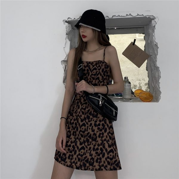 Short Leopard Pattern Thin Strap Dress (1) - My Sweet Outfit - EGirl Outfits - Soft Girl Clothes Aesthetic - Grunge Korean Fashion Tumblr Hip Emo Rap