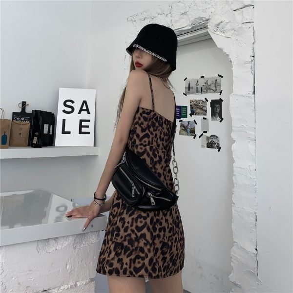 Short Leopard Pattern Thin Strap Dress (3) - My Sweet Outfit - EGirl Outfits - Soft Girl Clothes Aesthetic - Grunge Korean Fashion Tumblr Hip Emo Rap