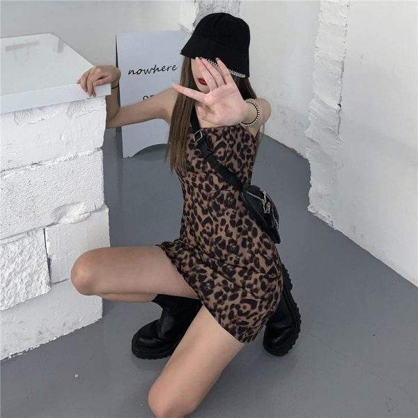 Short Leopard Pattern Thin Strap Dress (4) - My Sweet Outfit - EGirl Outfits - Soft Girl Clothes Aesthetic - Grunge Korean Fashion Tumblr Hip Emo Rap