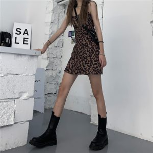 Short Leopard Pattern Thin Strap Dress (5) - My Sweet Outfit - EGirl Outfits - Soft Girl Clothes Aesthetic - Grunge Korean Fashion Tumblr Hip Emo Rap