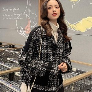 Short Loose Check Paneled Coat 3 - My Sweet Outfit - EGirl Outfits - Soft Girl Clothes Aesthetic - Grunge Korean Fashion Tumblr Hip Emo Rap