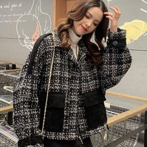 Short Loose Check Paneled Coat 4 - My Sweet Outfit - EGirl Outfits - Soft Girl Clothes Aesthetic - Grunge Korean Fashion Tumblr Hip Emo Rap