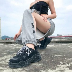 Side Slits Jogger Casual Loose Pants 2 - My Sweet Outfit - EGirl Outfits - Soft Girl Clothes Aesthetic - Grunge Korean Fashion Tumblr Hip Emo Rap Trap