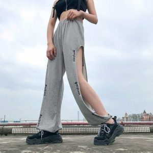 Side Slits Jogger Casual Loose Pants 4 - My Sweet Outfit - EGirl Outfits - Soft Girl Clothes Aesthetic - Grunge Korean Fashion Tumblr Hip Emo Rap Trap