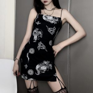 Slim Asian Style Thin Straps Short Dress (4) - My Sweet Outfit - EGirl Outfits - Soft Girl Clothes Aesthetic - Grunge Korean Fashion Tumblr Hip Emo Rap