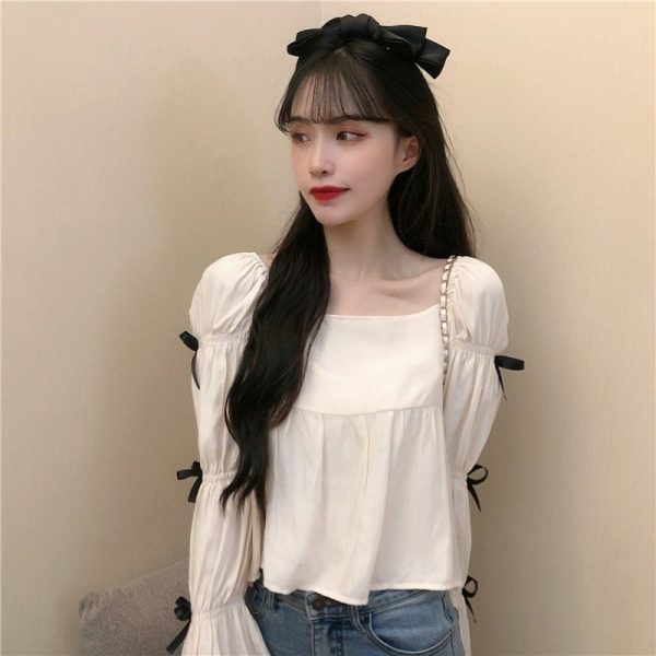 Square Collar Wide Sleeve Bows Blouse - My Sweet Outfit - EGirl Outfits - Soft Girl Clothes Aesthetic - Grunge Korean Fashion Tumblr Hip Emo Rap (1)