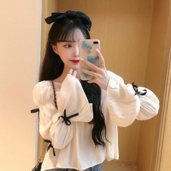 Square Collar Wide Sleeve Bows Blouse - My Sweet Outfit - EGirl Outfits - Soft Girl Clothes Aesthetic - Grunge Korean Fashion Tumblr Hip Emo Rap (2)