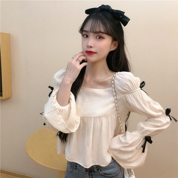 Square Collar Wide Sleeve Bows Blouse - My Sweet Outfit - EGirl Outfits - Soft Girl Clothes Aesthetic - Grunge Korean Fashion Tumblr Hip Emo Rap (4)