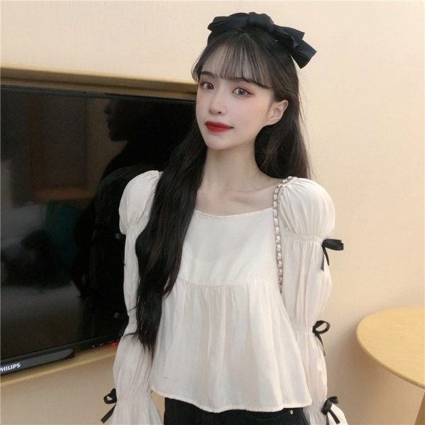 Square Collar Wide Sleeve Bows Blouse - My Sweet Outfit - EGirl Outfits - Soft Girl Clothes Aesthetic - Grunge Korean Fashion Tumblr Hip Emo Rap (5)