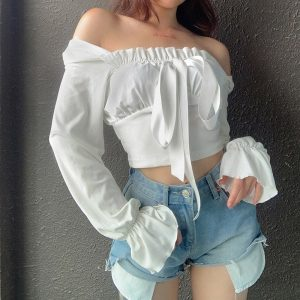Square Neck Puff Sleeve Thin Blouse 1 - My Sweet Outfit - EGirl Outfits - Soft Girl Clothes Aesthetic - Grunge Korean Fashion Tumblr Hip Emo Rap