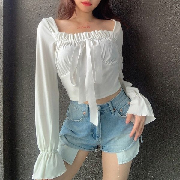 Square Neck Puff Sleeve Thin Blouse 3 - My Sweet Outfit - EGirl Outfits - Soft Girl Clothes Aesthetic - Grunge Korean Fashion Tumblr Hip Emo Rap