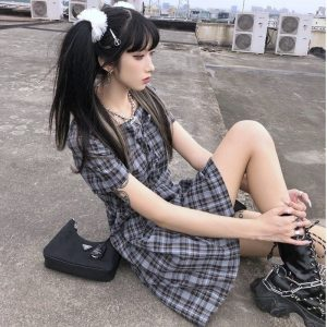 Tie Chest Check Mid Length Dress (1) - My Sweet Outfit - EGirl Outfits - Soft Girl Clothes Aesthetic - Grunge Korean Fashion Tumblr Hip Emo Rap