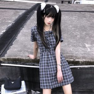 Tie Chest Check Mid Length Dress (3) - My Sweet Outfit - EGirl Outfits - Soft Girl Clothes Aesthetic - Grunge Korean Fashion Tumblr Hip Emo Rap