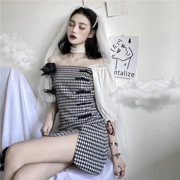 Vintage Plaid Puff Sleeve Short Dress - My Sweet Outfit - EGirl Outfits - Soft Girl Clothes Aesthetic - Grunge Korean Fashion Tumblr Hip Emo Rap (1)