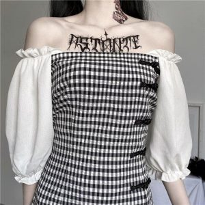 Vintage Plaid Puff Sleeve Short Dress - My Sweet Outfit - EGirl Outfits - Soft Girl Clothes Aesthetic - Grunge Korean Fashion Tumblr Hip Emo Rap (2)