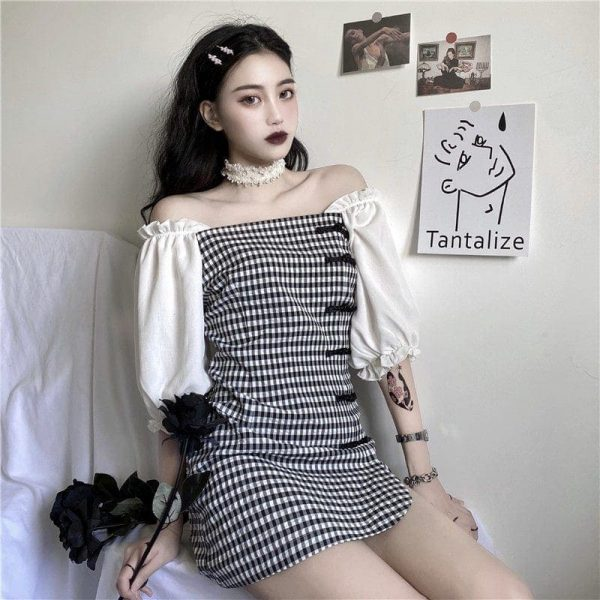 Vintage Plaid Puff Sleeve Short Dress - My Sweet Outfit - EGirl Outfits - Soft Girl Clothes Aesthetic - Grunge Korean Fashion Tumblr Hip Emo Rap (3)