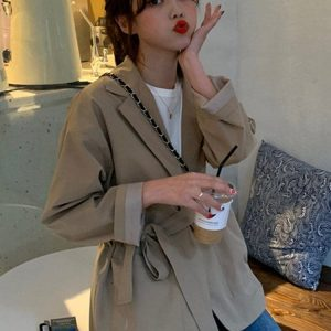 Waist Belt And Pockets Thin Jacket 1 - My Sweet Outfit - EGirl Outfits - Soft Girl Clothes Aesthetic - Grunge Korean Fashion Tumblr Hip Emo Rap
