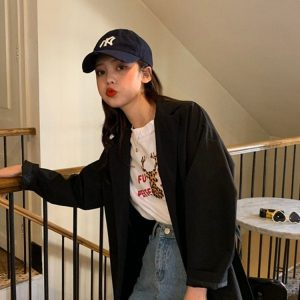 Waist Belt And Pockets Thin Jacket 4 - My Sweet Outfit - EGirl Outfits - Soft Girl Clothes Aesthetic - Grunge Korean Fashion Tumblr Hip Emo Rap