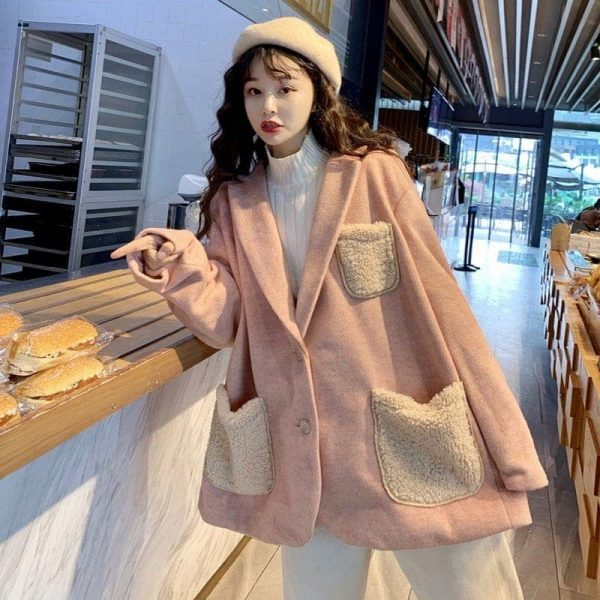 Warm Oversized Wool Pockets Jacket 2 - My Sweet Outfit - EGirl Outfits - Soft Girl Clothes Aesthetic - Grunge Korean Fashion Tumblr Hip Emo Rap